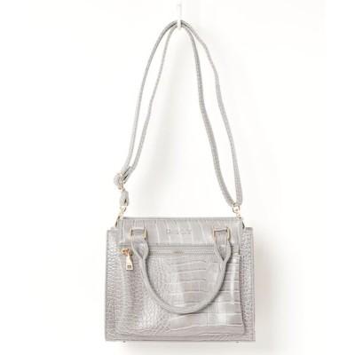 ZealMarket/SFW / 【クロコ型押し】【高級感】【スクエア型】2WAYハンドバッグ【長財布対応】エレガント WOMEN バッグ > ハンドバッグ