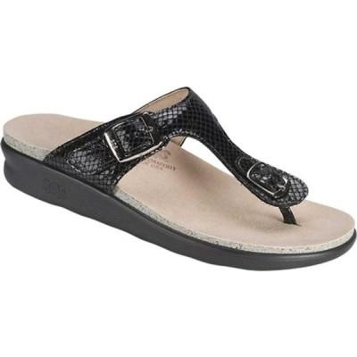 エスエーエス サンダル シューズ レディース Sanibel Sandal (Women's) Black Snake Laminate Nubuck Leather