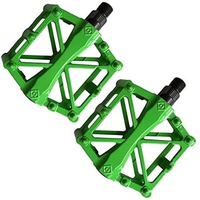 ペダル 自転車 バイク アルミ合金ペダル マウンテンバイク ロードバイク用 2個セット 滑り止め 軽量 耐久性(ライトグリーン)