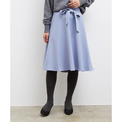 スカート プレミアムフィールリボン付きフレアスカート