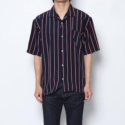 スタイルブロック STYLEBLOCK PTストライプ半袖オープンカラーシャツ (ネイビー)