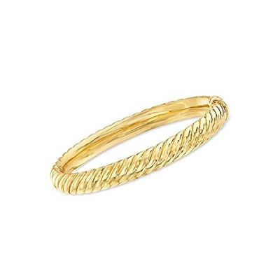 Ross-Simons 18kt Gold Over Sterling Spiraled Oval Bangle Bracelet. 7.5 inch