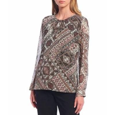 カルバンクライン レディース シャツ トップス Patchwork Medallion Print Crinkled Chiffon Long Sleeve Top Autumn Multi