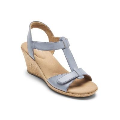 ロックポート サンダル シューズ レディース Women's Blanca T Strap Wedge Sandals Blue