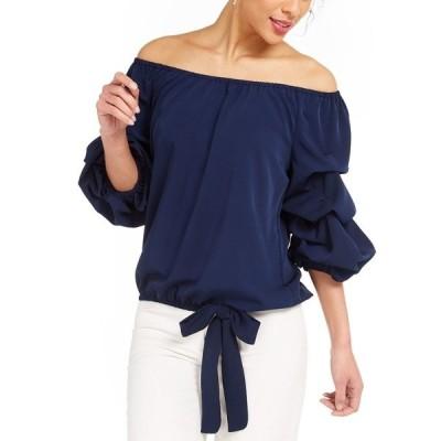 ミスク カットソー トップス レディース Off-The-Shoulder Puff Sleeve Top Navy Blue