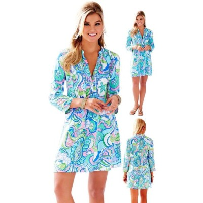 ワンピース リリーピュリッツァー Lilly Pulitzer Sarasota Pin tuck Tunic DRESS  Multi Conch Republic Blue XS