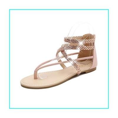 MACKIN J 566-1 Women's Gladiator Sandals Thong Flats Ankle Strap Zip Flat Sandals (7.5, Nude Diamond)
