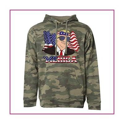 Donald Trump Merica Funny 4th of July American Flag 2020 Hoodie Sweatshirt Unisex 2X-Large Camo