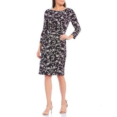 ジェシカハワード レディース ワンピース トップス Petite Size Floral 3/4 Sleeve Side Ruched Sheath Dress