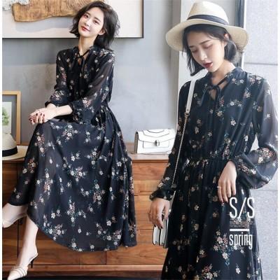 ✨韓国ファッション INS熱い販売  新登場!✨ロングスカート 気質  Vネック 花柄 シフォン ドレス スリムフィット ドレス