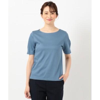 J.PRESS/ジェイプレス 【WEB限定色あり】コットンリブスムース クルーネックTシャツ ブルー系 M