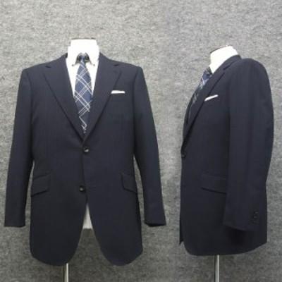 秋冬物 アジャスター付 ベーシック2釦シングルスーツ 紺/ストライプ ノータック [E体] E10532
