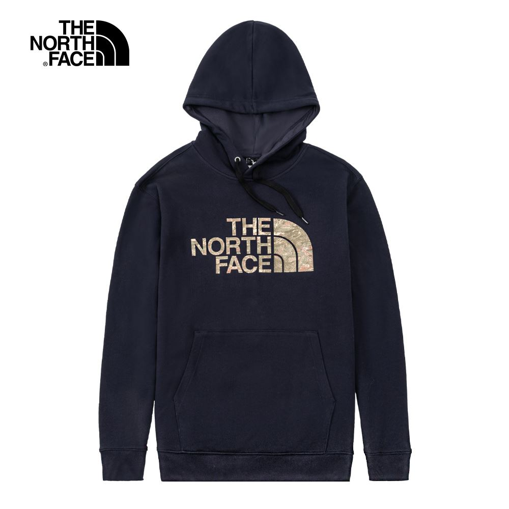 The North Face北面男女款深藍色迷彩LOGO印花連帽大學T|5K2ORG1