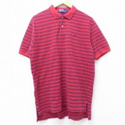 古着 半袖 ブランド ポロ シャツ 90年代 90s ラルフローレン Ralph Lauren ワンポイントロゴ 鹿の子 コットン 赤 レッド ボーダー XLサイ