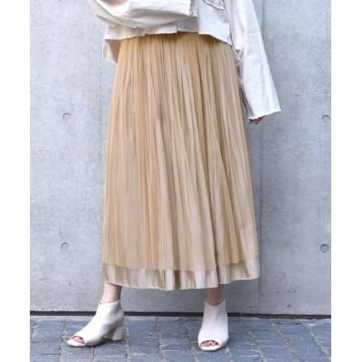 【ダブルクローゼット】 シャイニーサテン×チュール リバーシブルスカート レディース モカ FREE w closet