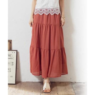 グローウィングリッチ GROWING RICH [スカート]ガーゼティアードスカート[200343] (オレンジ)