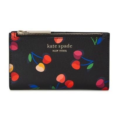 ケイトスペード 二つ折り財布 PWRU8057 Kate Spade Spencer Cherries Small Slim Bifold Wallet スペンサー チェリー スモール ウォレット(ブラックマルチ)
