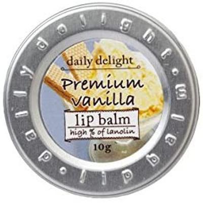 デイリーディライト リップバーム プレミアムバニラ 10g(リップクリーム 缶入り 唇用保湿クリーム 上質なバニラアイスクリームの香り)
