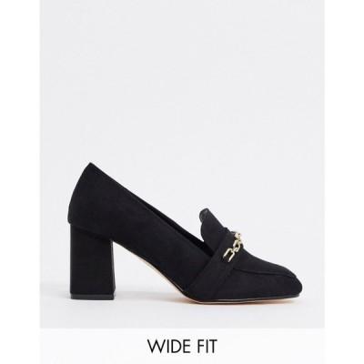 ロンドン レーベル London Rebel レディース ローファー・オックスフォード シューズ・靴 Wide Fit Chain Heeled Loafers In Black ブラック