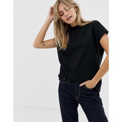 ウィークデイ Weekday レディース Tシャツ トップス Prime organic cotton t-shirt in black ブラック