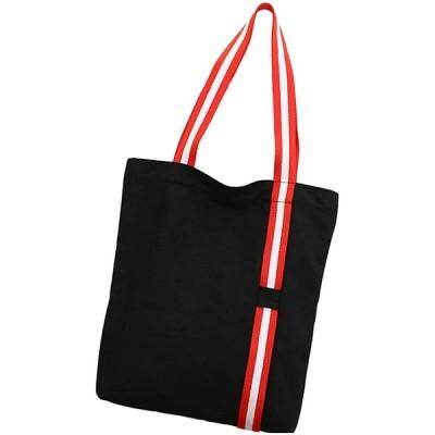アクテール トートバッグ 通勤 通学 手提げバッグ キャンバス バック 肩掛け ショルダーバッグ (01. ストライプ ブラック)