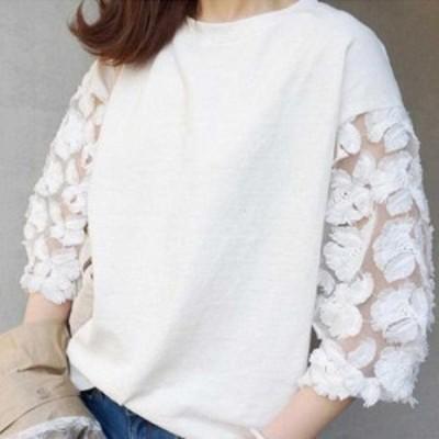 Tシャツ レディース 七分袖 カットソー 刺繍 大人可愛い トップス 白 即納 ホワイト/