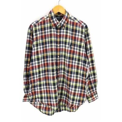 ラルフローレン RALPH LAUREN ボタンダウンフロント刺繍チェックシャツ メンズ M 中古 210413