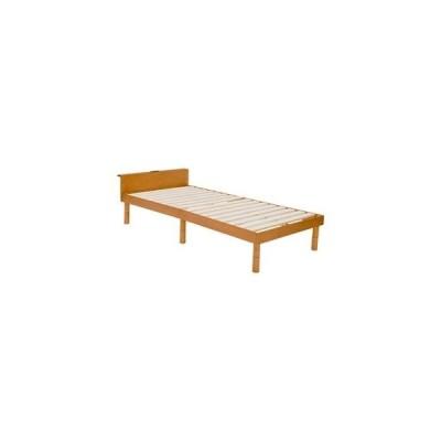ds-2202001 宮付き シングルベッド/すのこベッド (フレームのみ) ライトブラウン 約幅98cm 木製 高さ調節 通気性 〔寝室 ベッドルーム〕【代引不可】