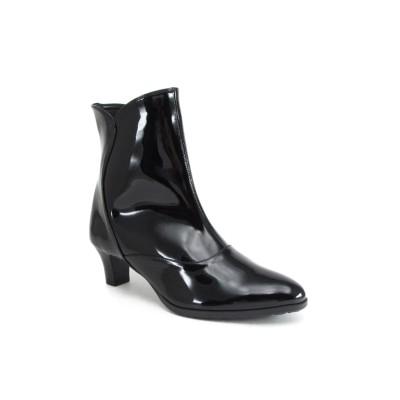 【オンワード】 Foot Community(フットコミュニティ) 【ビューフィット】人工皮革レインブーツ ブラックエナメル 235 (23.5cm) レディース 【送料無料】