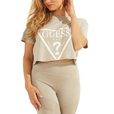 ゲス Tシャツ トップス レディース Cropped Logo Cotton T-Shirt Lead Grey