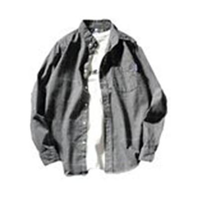 「サ二ー」 チェック柄 メンズ 長袖シャツ vネック ユニセックス 春夏 ゆったり 無地 bf風 ポケットあり おおき?