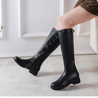 ブーツ バックル ロングブーツ 太ヒール ストラップ 痛くない 脱げない お嬢様 可愛い 歩きやすい 小さいサイズ ブラック黒 レディース  ハイカットブーツ