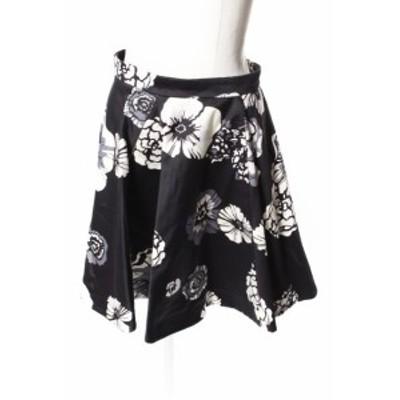 【中古】エムエスジーエム MSGM スカート ミニ フレア タック 花柄 40 黒 ブラック /☆a0424 レディース