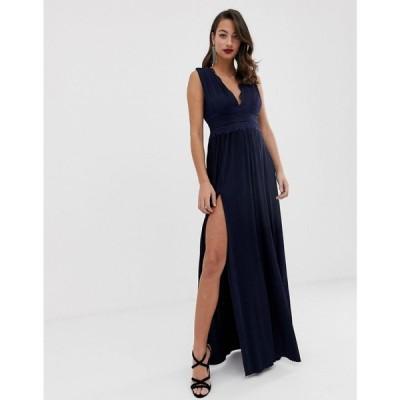 エイソス ASOS DESIGN レディース ワンピース ワンピース・ドレス Premium Lace Insert Pleated Maxi Dress Navy