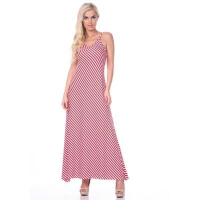 ホワイトマーク ワンピース トップス レディース Women's Backless Striped Maxi Dress Red