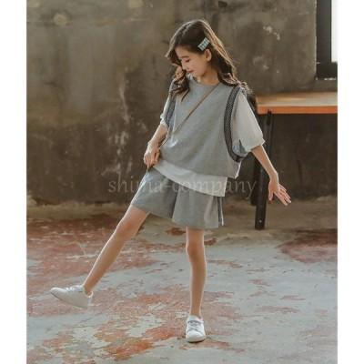 3点セット 子供服 女の子 Tシャツ 韓国子供服  ゆったりした半袖+ショーツ無地 130 -170 ◇半袖トップス◇グレー無地の色