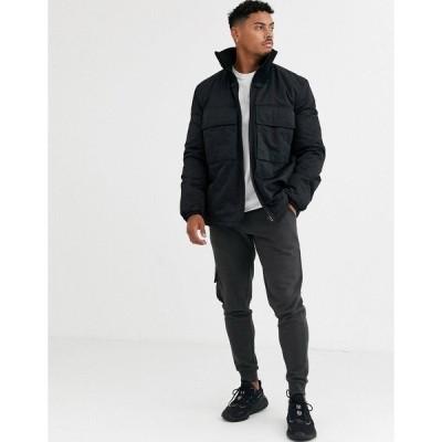 エイソス メンズ ジャケット&ブルゾン アウター ASOS DESIGN utility jacket with funnel neck in black Black