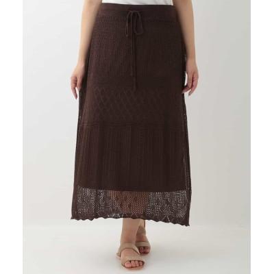 【エウルキューブ】 透かし編みニットスカート レディース ブラウン 15 eur3( 大きいサイズ)