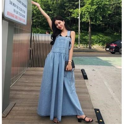 ノースリーブワンピース/ロングワンピース デニムワンピース  韓国ワンピ 袖なし 大きサイズ 大きいサイズ 薄い レトロ  サロベット