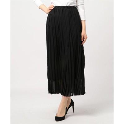スカート シフォンロング丈フレアプリーツスカート