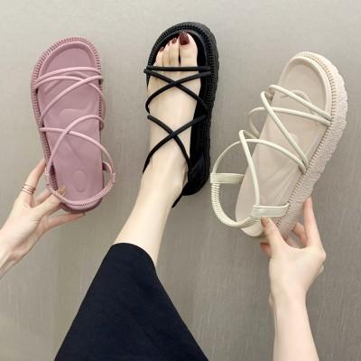 2020夏の新しいプラットフォームサンダルの女性の韓国のクロスストラップサンダルローマのウェッジサンダルの女性の靴