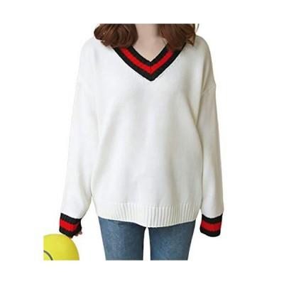 [Flapkash(フラップカッシュ)] Vネック お洒落 ニット セーター 長袖 トップス 春 秋 冬 ファッション 可愛い カジュアル 暖かい あ