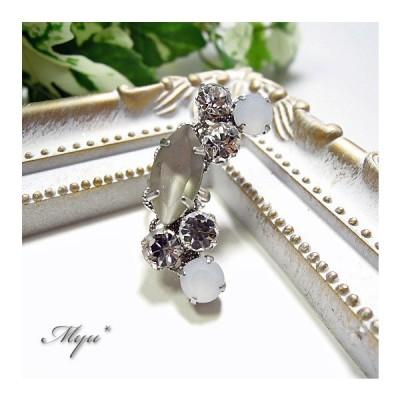 イヤーカフ オパール クリスタル シルバー フロスト グレー ムーン型 クール キラキラ 女性 プレゼント