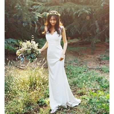 ウェディングドレス パーティドレス レディース ワンピース マーメイド 人魚 2枚送料無料 結婚式 ブライダル花嫁 エレガント 二次会お呼ばれ
