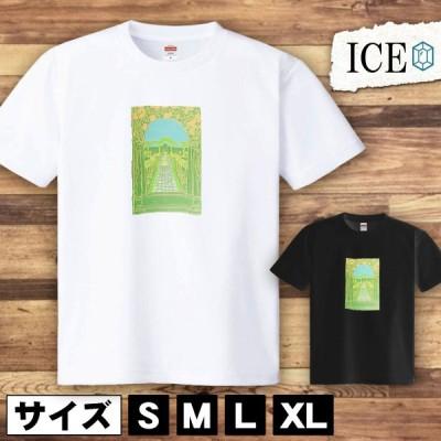 Tシャツ 景色 メンズ レディース かわいい 綿100% 家 草木 アンティーク レトロ 大きいサイズ 半袖 xl おもしろ 黒 白 青 ベージュ カーキ ネイビー 紫 カッコイ