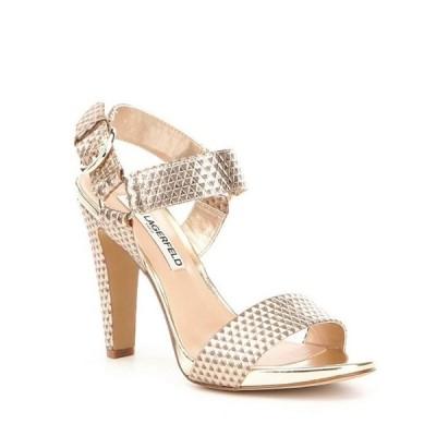 カール ラガーフェルド レディース サンダル シューズ Cieone Metallic Leather Ankle Strap Dress Sandals