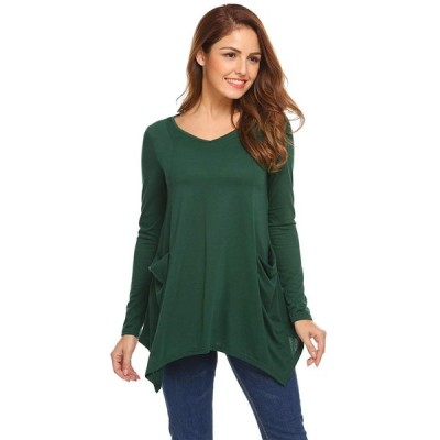 EASTHER Women's Loose Casual V Neck Swing Pocket Tunic Tops Tee Shirts