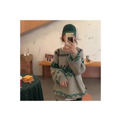 【送料無料】レトロ 日系 セーターの女性 秋と冬 オーバーサイズ 風 韓国風 ニット | 346770_A64512-2870343