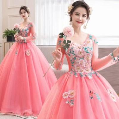 スイカの赤 パーティードレス ウェディングドレス 発表会 演奏会用ドレス プリンセスライン 二次会・花嫁衣裳にも♪