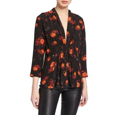 イロ レディース シャツ トップス Noun Smocked Floral-Print Blouse